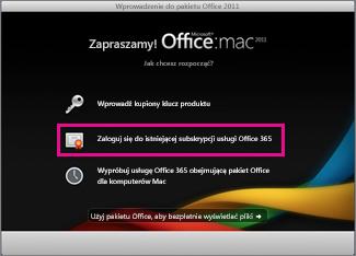 Strona główna instalacji pakietu Office dla komputerów Mac służąca do logowania się do istniejącej subskrypcji usługi Office 365.