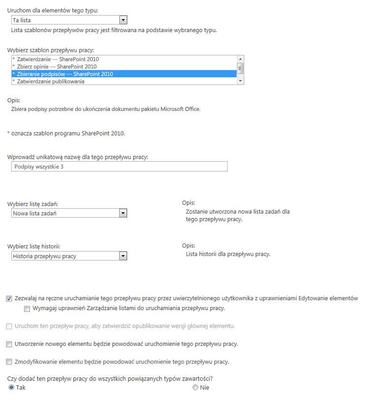 Pierwsza strona formularza skojarzenia