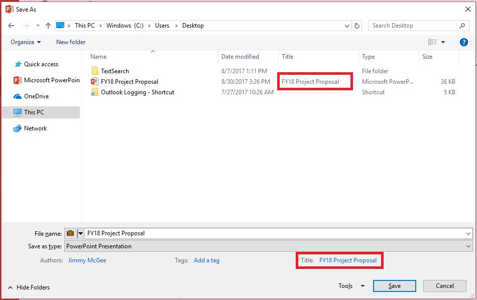 Właściwości dokumentów pakietu Office — okno dialogowe Zapisywanie jako