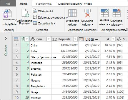 Opcje pobierania i przekształcania z tabeli