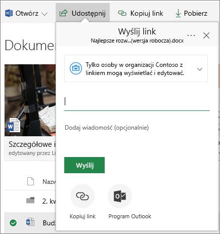 SharePoint Online — udostępnianie dokumentu