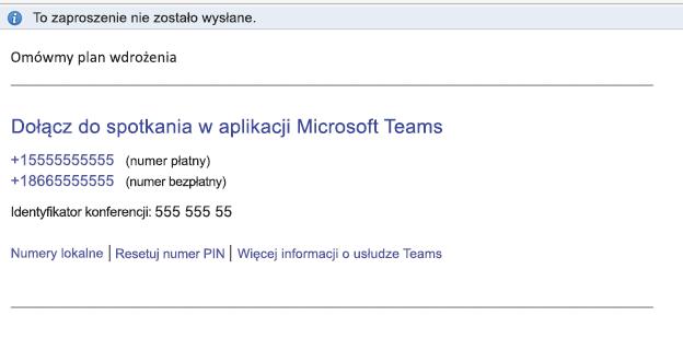 Link Dołącz do spotkania w aplikacji Microsoft Teams w treści zdarzenia