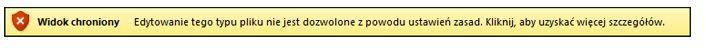 Widok chroniony wywołany przez funkcję blokowania plików, użytkownik nie może edytować pliku