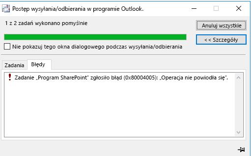 Błąd podczas nawiązywania połączenia z biblioteką dokumentów programu SharePoint