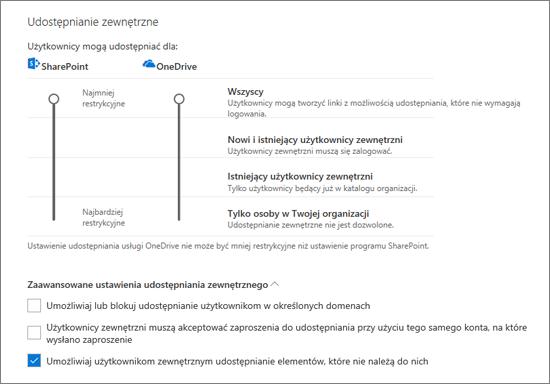 Udostępnianie ustawień na stronie udostępnianie w Centrum administracyjnym usługi OneDrive zewnętrzne