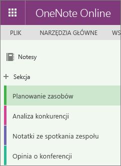 Przykładowe sekcje w programie OneNote