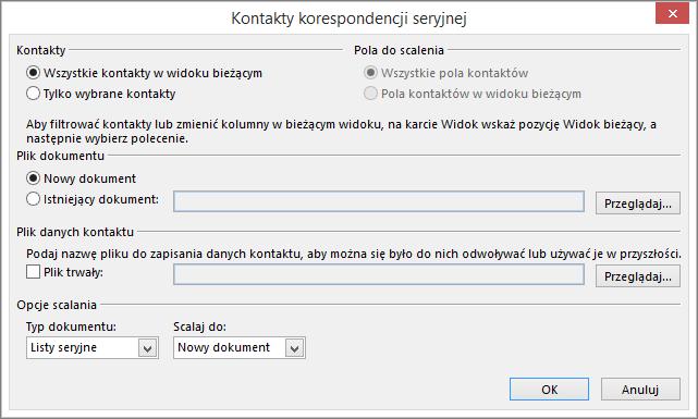 Kliknij pozycję Korespondencja seryjna na karcie Narzędzia główne folderu Kontakty, aby uruchomić korespondencję seryjną