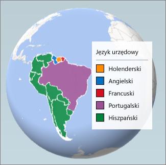 Wykres regionów przedstawiający języki używane w Ameryce Południowej