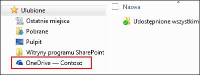 Zsynchronizowana biblioteka usługi OneDrive dla Firm na liście ulubionych systemu Windows
