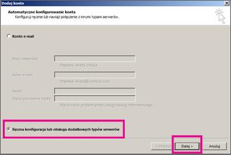 Używanie konfiguracji ręcznej w programie Outlook 2013