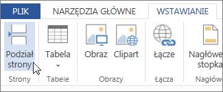 Przycisk Podział strony w aplikacji Word Web App