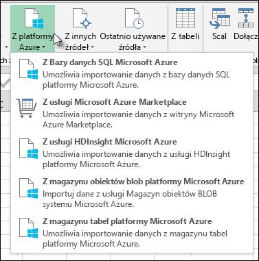 Power Query importowanie z okna dialogowego Azure