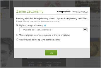 Ustawienia wstępne w witrynie GoDaddy: wybieranie domeny z listy rozwijanej
