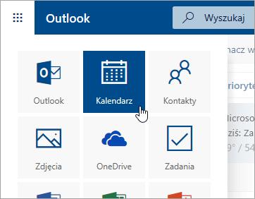 Zrzut ekranu przedstawiający kafelek Kalendarz w obszarze Uruchamianie aplikacji