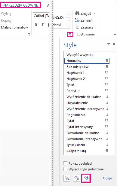 Przycisk Zarządzaj stylami w okienku stylów