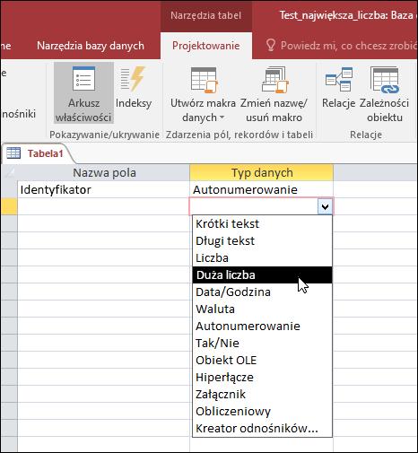 Zrzut ekranu przedstawiający listę typów danych w tabeli programu Access. Zaznaczona pozycja Duża liczba.