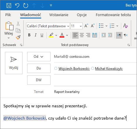 Funkcja @Wzmianka w programie Outlook