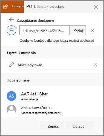 Zrzut ekranu przedstawiający użytkowników, którzy wysłano łącze właściwości połączenia.