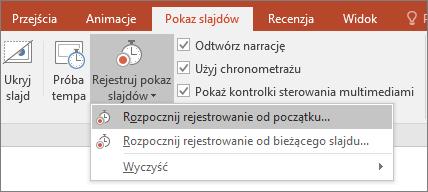 Przycisk Rejestracja pokazu slajdów w programie PowerPoint