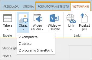 Zrzut ekranu przedstawiający wstążkę usługi SharePoint Online. Wybierz kartę Wstawianie, a następnie pozycję Obraz, aby określić, czy przekazać plik z komputera, adresu internetowego, czy z lokalizacji programu SharePoint.