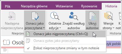 Zrzut ekranu przedstawiający przycisk Oznacz jako przeczytane w programie OneNote2016.