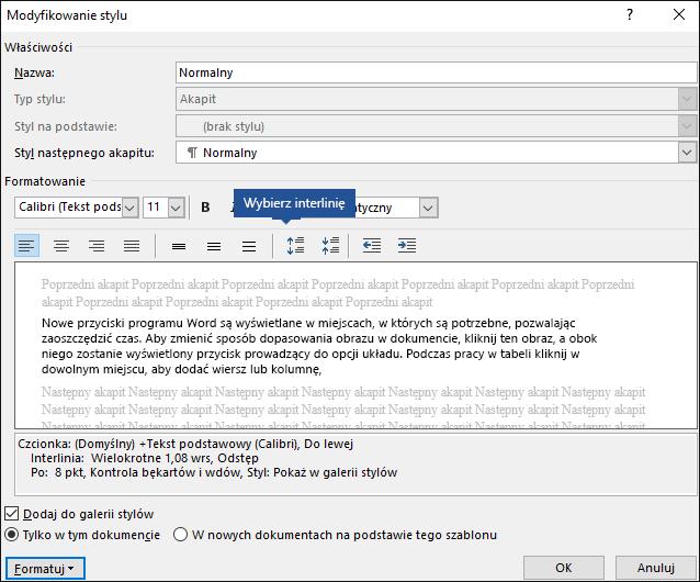 Modyfikowanie opcji interlinii stylu w celu dostosowania odstępów w pionie w programie Word.
