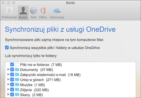 Okno dialogowe Synchronizowanie folderów w usłudze OneDrive dla komputerów Mac