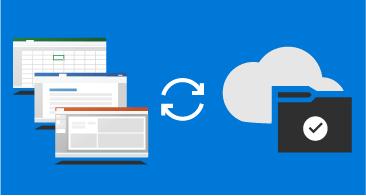 Trzy okna (Word, Excel, PowerPoint) z lewej, chmura i folder z prawej i podwójna strzałka między nimi
