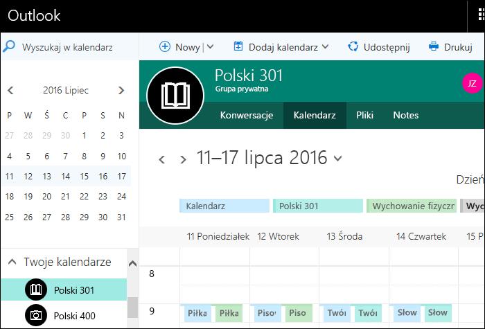 Przykładowy kalendarz w usłudze Classroom