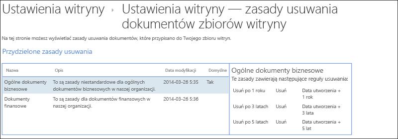 Zasady usuwania dokumentów przypisane do zbioru witryn
