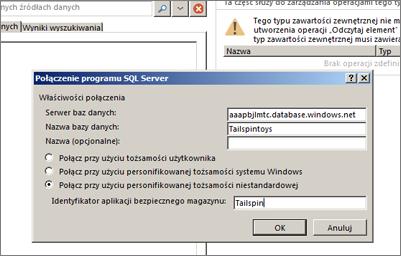 Zrzut ekranu przedstawiający okno dialogowe Połączenie programu SQL Server, w którym możesz wypełnić nazwę swojego serwera bazy danych platformy SQL Azure i użyć pozycji Połącz przy użyciu personifikowanego identyfikatora niestandardowego w celu wprowadzenia identyfikatora aplikacji bezpiecznego magazynu.