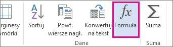 Przycisk Formuła w narzędziach tabel