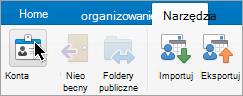 Przedstawia przycisk konta w menu Narzędzia