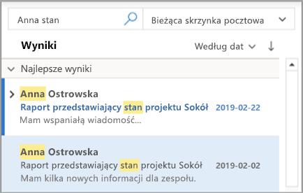 Pokazuje wyniki wyszukiwania w programie Outlook