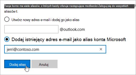 Zrzut ekranu przedstawiający przycisk Dodaj alias na stronie Dodaj alias.