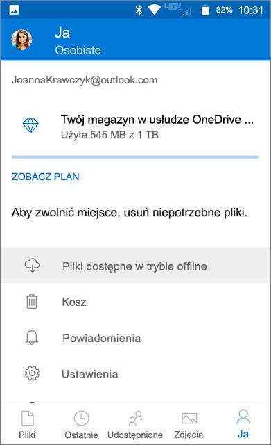 OneDrive, folder trybu offline