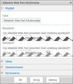 Zrzut ekranu: panel edycji składnika Web Part multimediów, zawierający niektóre z właściwości dostępnych do skonfigurowania