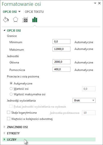 Opcja Liczba w okienku Formatowanie osi