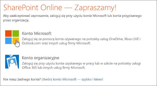 Zrzut ekranu przedstawiający ekran logowania usługi SharePoint Online.