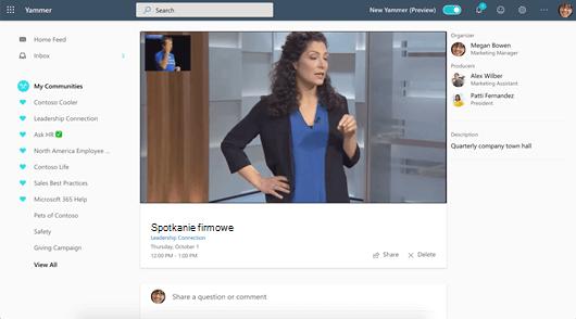 Zrzut ekranu przedstawiający Uczęszczanie na zdarzenie na żywo w sieci Web