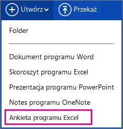 Tworzenie ankiety programu Excel