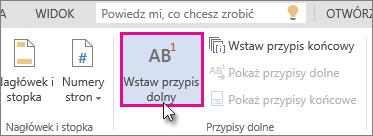 Wstawianie przypisu dolnego w aplikacji Word Online