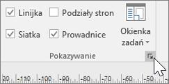 Zrzut ekranu przedstawiający pasek narzędzi Linijka, Siatka i Prowadnice z wyróżnioną ikoną opcji