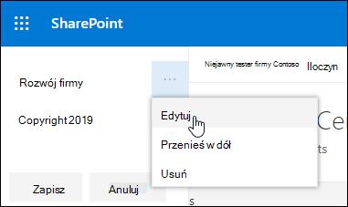 Edytowanie istniejącego linku lub etykiety w stopce w witrynie komunikacji programu SharePoint.