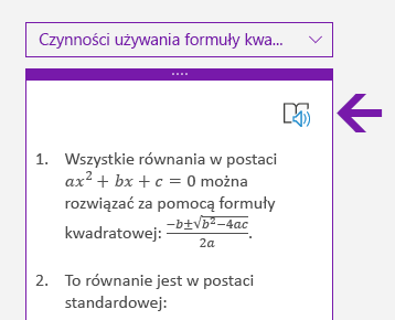 Ikona czytnika immersyjnego w okienku Matematyka w programie OneNote dla systemu Windows 10