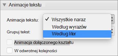 Wybierz opcję według liter