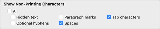 Ustawienia znaków, które nie są drukowane