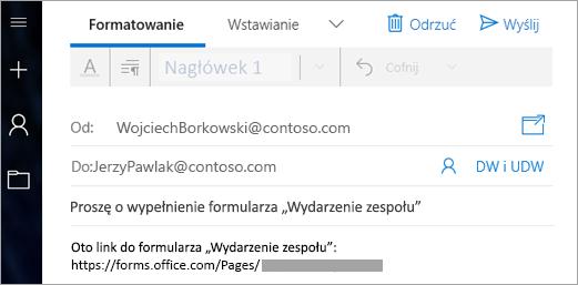 Wysyłanie linku do formularza w wiadomości e-mail