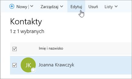 Zrzut ekranu przedstawiający kursor umieszczony na przycisku Edytuj na stronie Kontakty.
