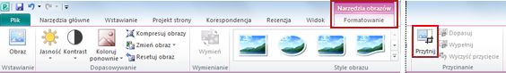 Polecenie przycinania na karcie wstążki Narzędzia obrazów, Formatowanie w programie Publisher